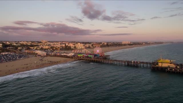 Santa Monica Pier Los Angeles Aerial Time Lapse video