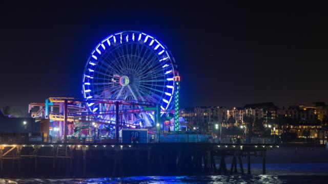 Santa Monica Pier, Pacific Park California Ferris Wheel Night Timelapse video