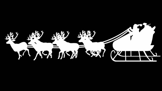 Santa Sleigh Silhouette (Luma Matte) | Loopable video