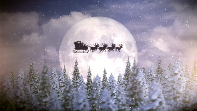 Santa With Reindeer Fly Over Moon   Christmas Night
