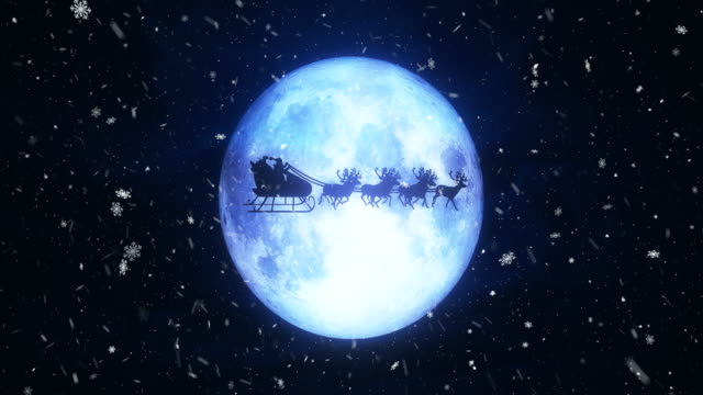 Santa With Reindeer Fly Over Moon video