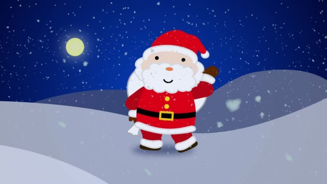 stockvideo's en b-roll-footage met santa_claus_in_snow - cadeau sinterklaas