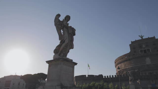 Sant'Angelo Bridge with angels statues in Rome, Italy