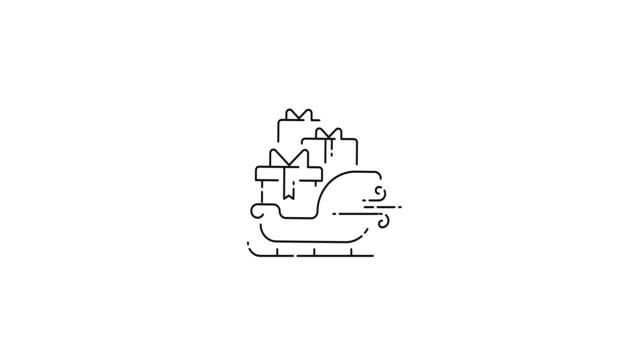 サンタのクリスマスは贈り物でそり。アニメーションアウトライン薄いフラットデザインアイコン。4k で使用できる分離された ui 要素のアニメーション。 - アイコン プレゼント点の映像素材/bロール