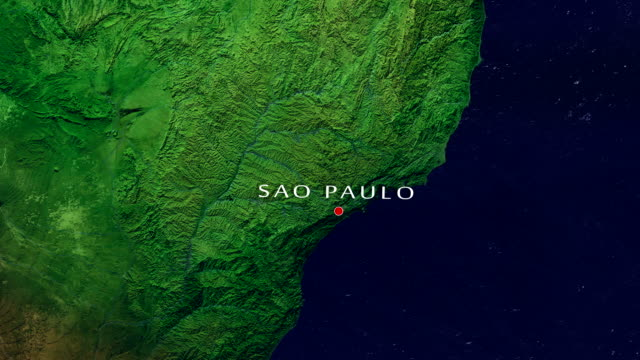 Sao Paulo 4K Zoom In Zoom to geographic earth from space 4K Resolution animation são paulo state stock videos & royalty-free footage