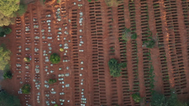 Sao Paulo Cemetery aerial view during Covid-19 crisis Several Open graves in Vila Formosa Cemetery aerial view, a portrait of the Pandemic Coronavirus in Brasil death stock videos & royalty-free footage