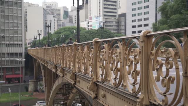 Sao Paulo downtown Santa Efigenia bridge. wrought iron stock videos & royalty-free footage