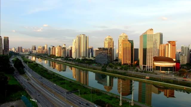 Sao Paulo Video taken above an important highway of Sao Paulo city. Marginal Pinheiros. marginal pinheiros stock videos & royalty-free footage