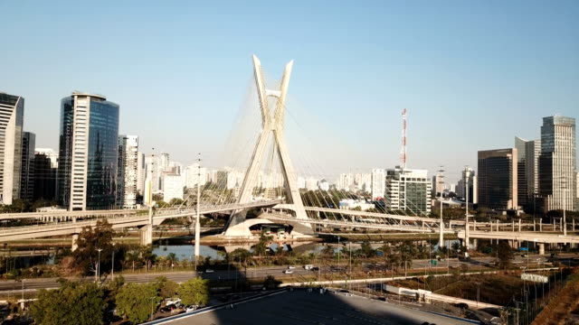 Sao Paulo Aerial view of the famous cable-stayed bridge of Sao Paulo city. marginal pinheiros stock videos & royalty-free footage