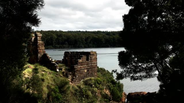 sarah island penal settlement ruins in macquarie harbour, tasmania