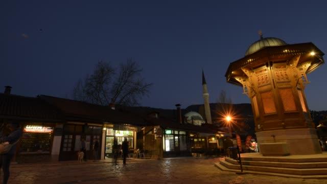 Sarajevo - Bosnia and Herzegovina, April 21, 2015 : The Sebilj Fountain in Historical City Center video