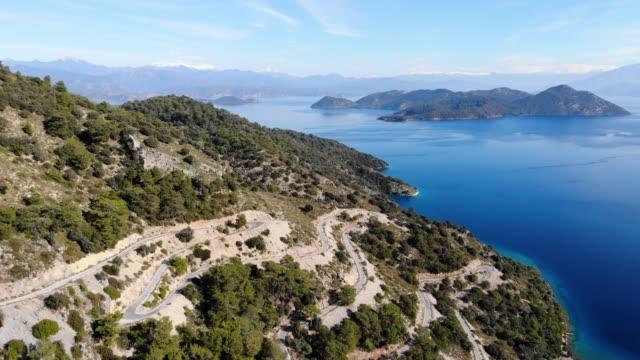 Sarsala bay aerial view, Dalaman, Mugla, Turkey Drone point of view, Sarsala bay aerial view, Dalaman, Mugla, Turkey aegean turkey stock videos & royalty-free footage