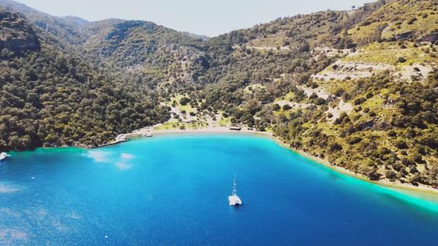 Sarsala Bay in Dalaman, Mugla Aerial view of Sarsala Bay in Dalaman, Mugla, Turkey aegean sea stock videos & royalty-free footage