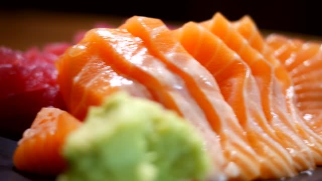 Sashimi Japanese food sashimi,salmon sashimi stock videos & royalty-free footage