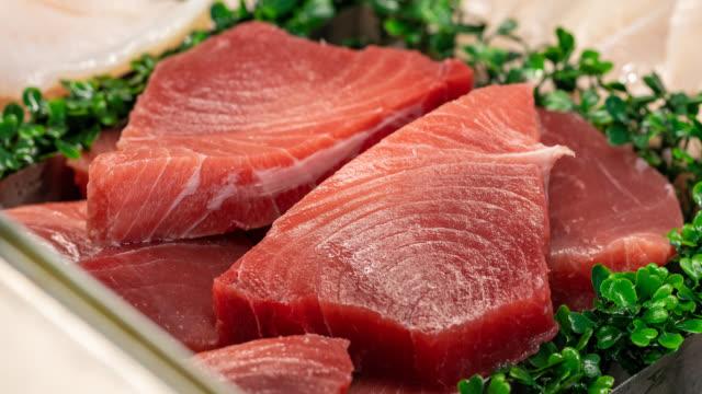 Sashimi Tuna Fresh Sashimi Tuna On Display tuna seafood stock videos & royalty-free footage