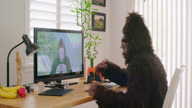 sasquatch bigfoot online videoconference - yeti video stock e b–roll