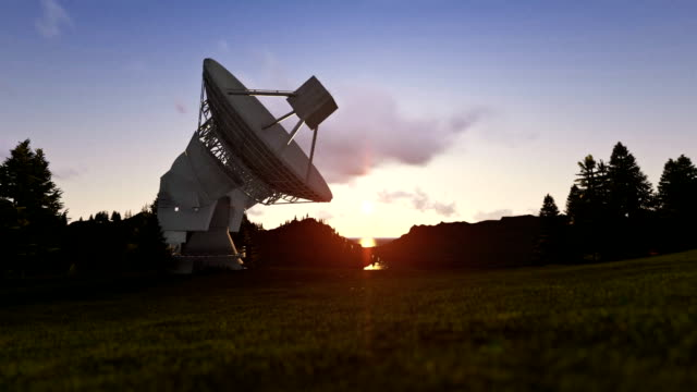 Satellite Antenna on Green Meadow, timelapse sunrise to afternoon video