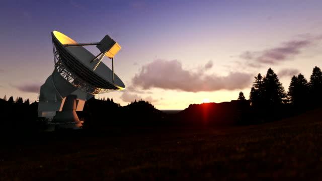 Satellite Antenna on Green Meadow, timelapse sunset video