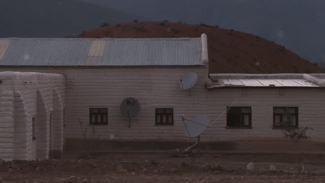 Satellite Dishes in a Mountain School in Argentina.