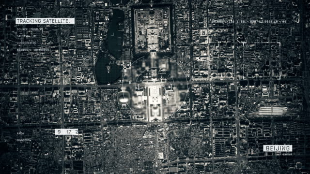 satellite image of beijing - governo video stock e b–roll