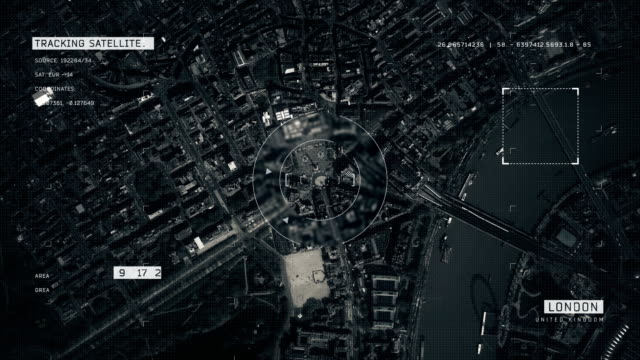 satellite image of london - ingrandimento video stock e b–roll