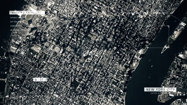 satellite image of new york city - ingrandimento video stock e b–roll