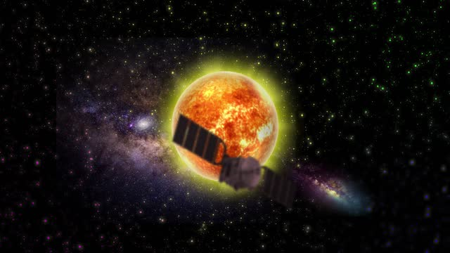 Satellite in Front of The Sun in Outer Space. Planet. Abstract Backgrounds. Stock Video
