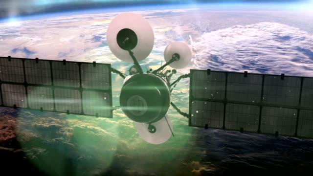 Satellite in orbit around the earth. video