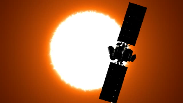 Satellite is orbiting the Sun video
