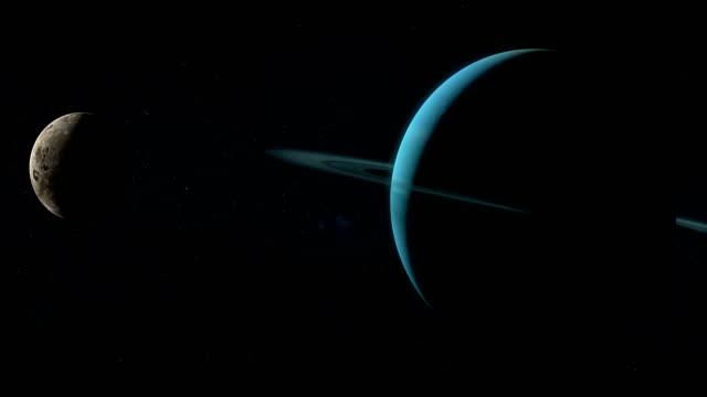 오 베론 우주 공간에 천왕성 행성 주위를 공전 하는 위성 - larry king 스톡 비디오 및 b-롤 화면