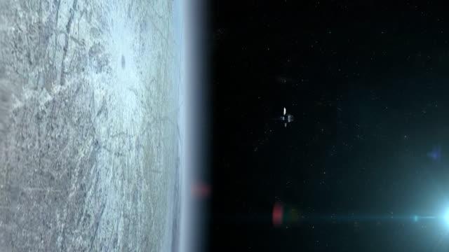 Satellite orbiting near Europa Moon video