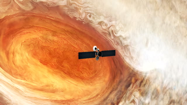 Satellite orbiting near Jupiter. Great Red Spot. Space Research.  Satellite orbiting near Jupiter's Great Red Spot. space exploration stock videos & royalty-free footage