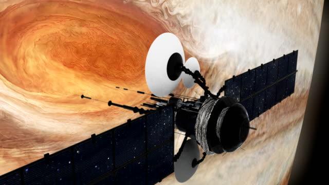 satellite orbiting near jupiter. great red spot. - jowisz filmów i materiałów b-roll