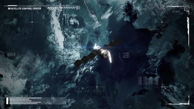 uydu yörüngesindeki gezegen, kontrol merkezi ekranı, dış gezegen, iletişim - kesit stok videoları ve detay görüntü çekimi
