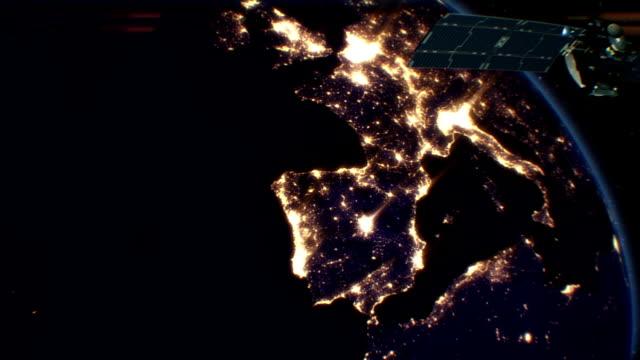 Satellite over Night Cities. Europe. HD 1080.