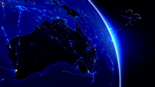 Satellite sending signals to Earth. World connections. Australia. Blue. video