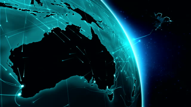 Satellite sending signals to Earth. World connections. Australia. video