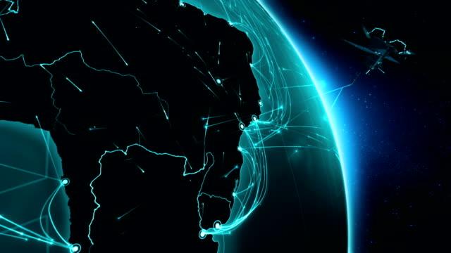 vídeos de stock, filmes e b-roll de satélite enviar sinais para a terra. conexões do mundo. américa do sul. - brazil map