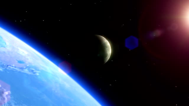 Satellite view of Earth, Moon and Sun video