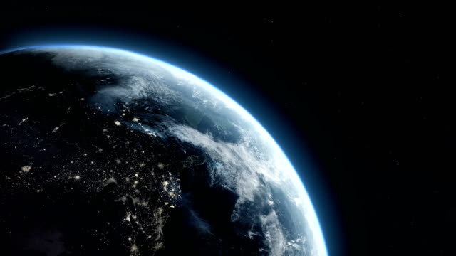 satellite view of earth with city lights - atmosfera video stock e b–roll