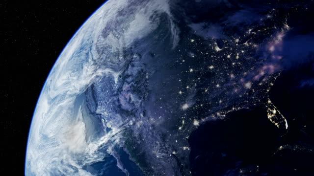 satellite view of planet earth. looping time lapse. - континент географический объект стоковые видео и кадры b-roll