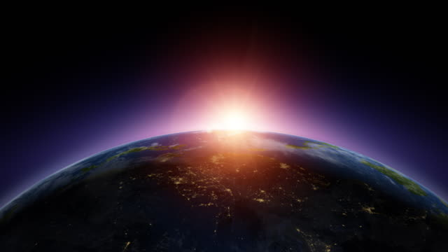 vídeos de stock e filmes b-roll de satellite view of sunrise in asia - globo