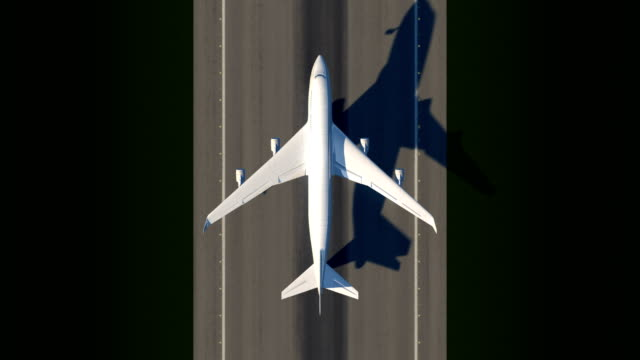 Satellite view of taking off airplane Satellite watching large airplane taking off a runway airport runway stock videos & royalty-free footage