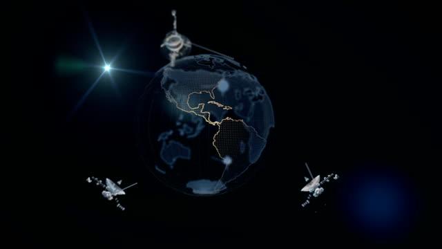 satellites spinning around the earth. loop - satellit bildbanksvideor och videomaterial från bakom kulisserna