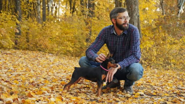 nöjd man med skägg i parken med en hund - hund skog bildbanksvideor och videomaterial från bakom kulisserna