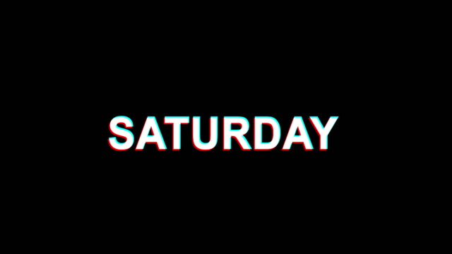 Saturday Glitch Effect Text Digital TV Distortion 4K Loop Animation Saturday Glitch Text Abstract Vintage Twitched 4K Loop Motion Animation . Black Old Retro Digital TV Glitch Effect Including Twitch, Noise, VHS, Distortion. small business saturday stock videos & royalty-free footage