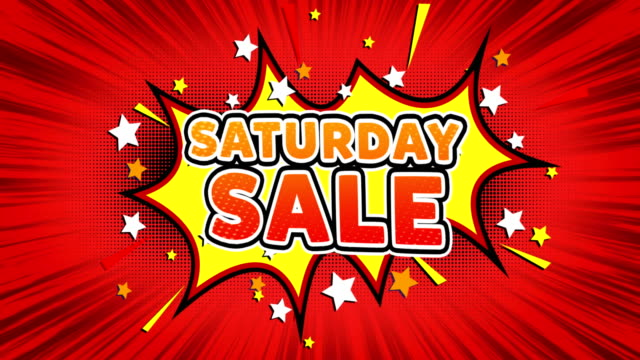 Saturday Sale Text Pop Art Style Comic Expression.