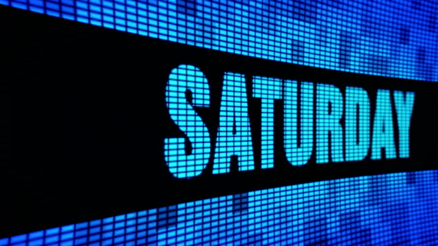 Saturday Side  Text Scrolling LED Wall Pannel Display Sign Board Saturday Side Text Scrolling on Light Blue Digital LED Display Board Pixel Light Screen Looped Animation 4K Background. Sign Board , Blinking Light, Pixel Monitor . LED Wall Pannel small business saturday stock videos & royalty-free footage