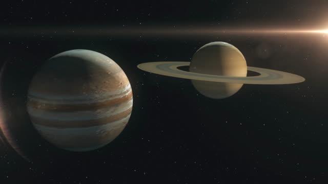 saturn and jupiter planet conjunction - jowisz filmów i materiałów b-roll