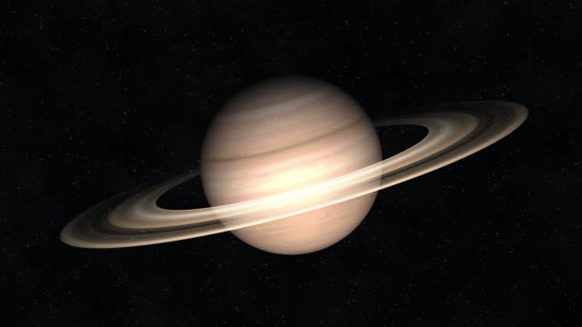 Saturn and rings in space video